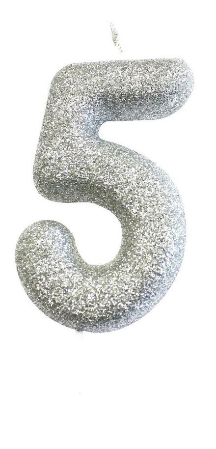 Number 5 Silver Glitter Candle